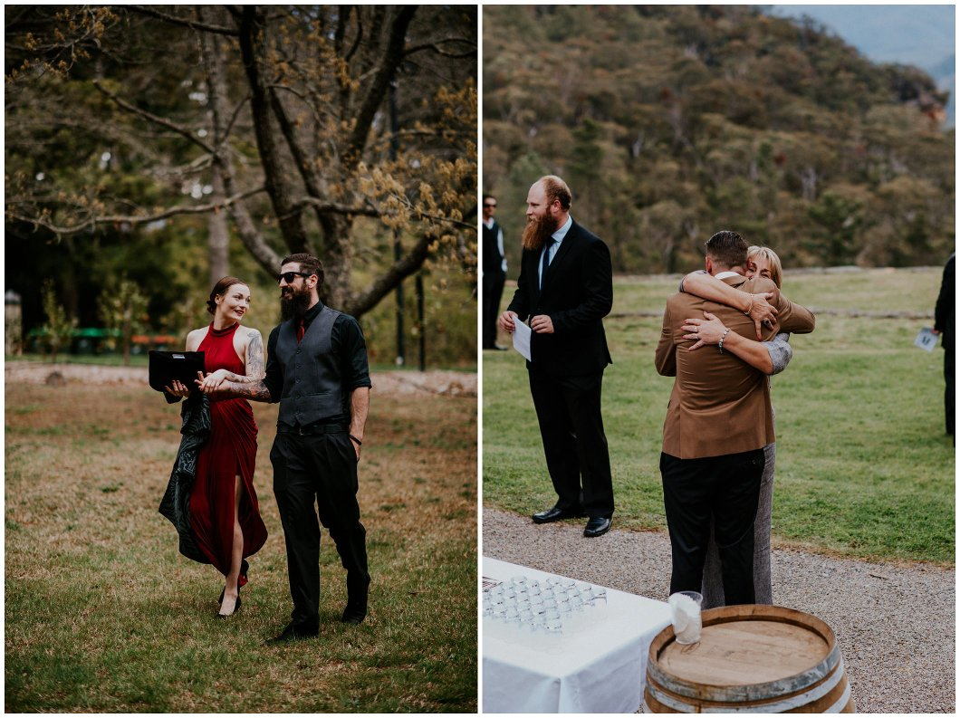 Blue Mountains Wedding Yester Grange hugs candid
